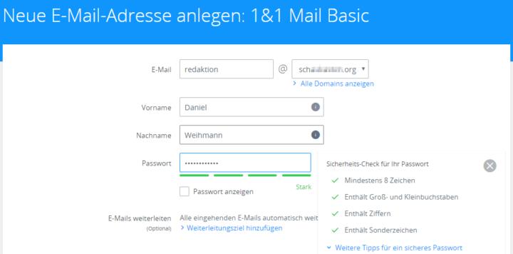 E-Mail-Adresse bei 1&1 anlegen