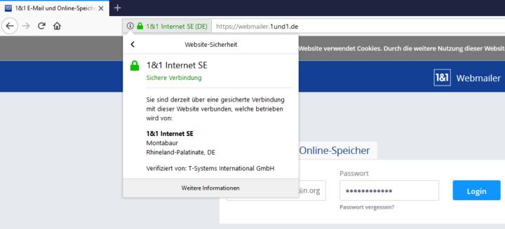 Verschlüsselte SSL-Verbindung zum 1und1 Webmail-Login