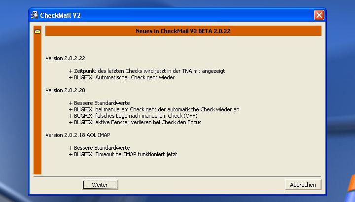 CheckMail installieren (Informationen über Programm-Neuerungen)