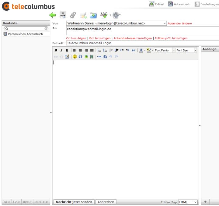 Oberfläche des Tele Columbus Webmailers
