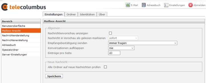 Telecolumbus Webmailer Einstellungen